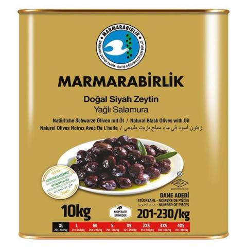 10 Kg (XL) Yağlı Salamura Siyah Zeytin Teneke