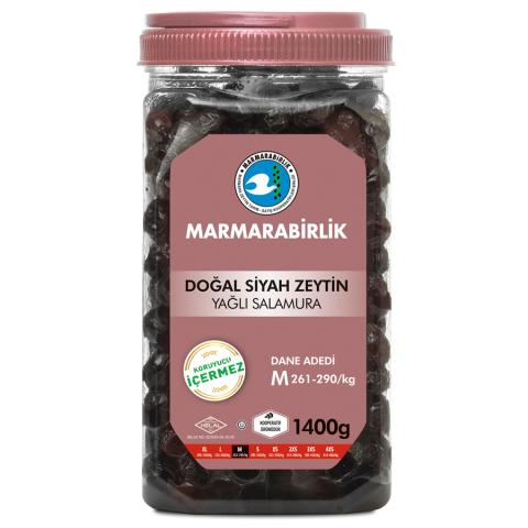 1400 Gr. (M) Yağlı Salamura Siyah Zeytin Pet