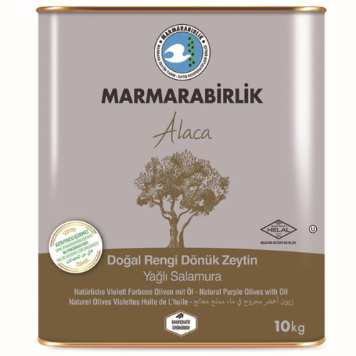 10 kg (L) Marmarabirlik Alaca Yağlı Salamura Siyah Zeytin Teneke