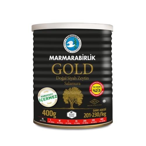 400 Gr GOLD (XL) %2,5 Az Tuzlu Salamura Siyah Zeytin Teneke